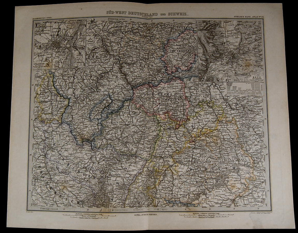 Southwest Germany Switzerland Strasburg Metz Inset 1885 fine old detailed map