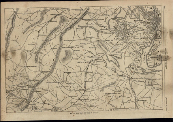 Seat of War in Virginia Map Potomac Washington 1861 great old print for display