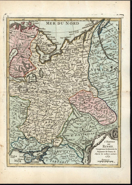 Russian Empire Finland Siberia Crimea c.1775 antique engraved hand color map