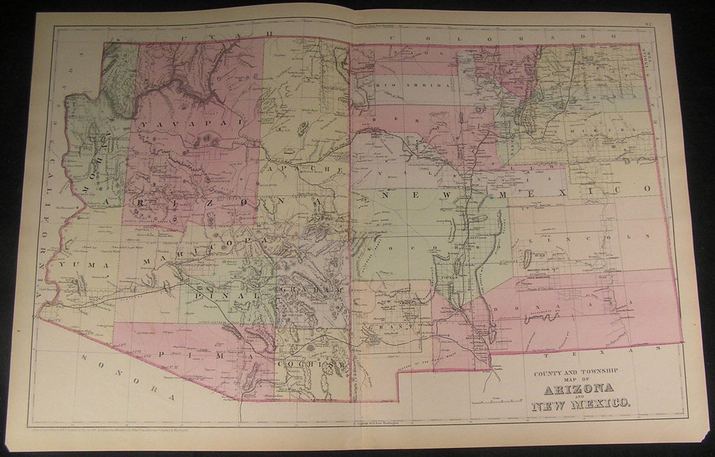 Arizona New Mexico together 1883 antique very detailed Mitchell folio map