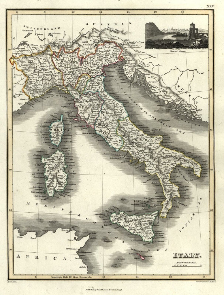 Italy Italian States Italia 1820 Thomson Hewitt Decorative Map