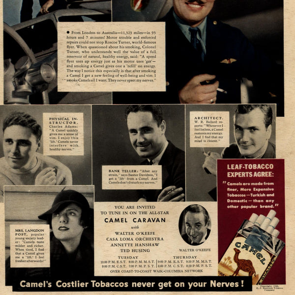 Camel smoking 1935 old cigarette ad Pilot PE teacher Mrs. Post get a lift