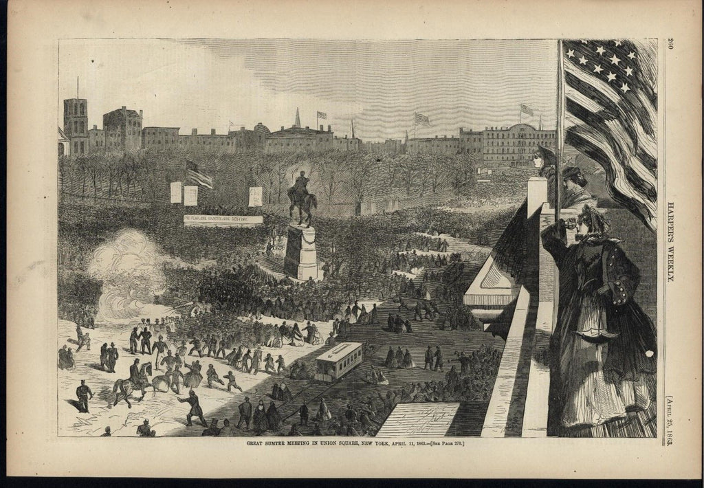 Sumter Meeting Union Square New York 1863 W. Homer old Harpers Civil War print