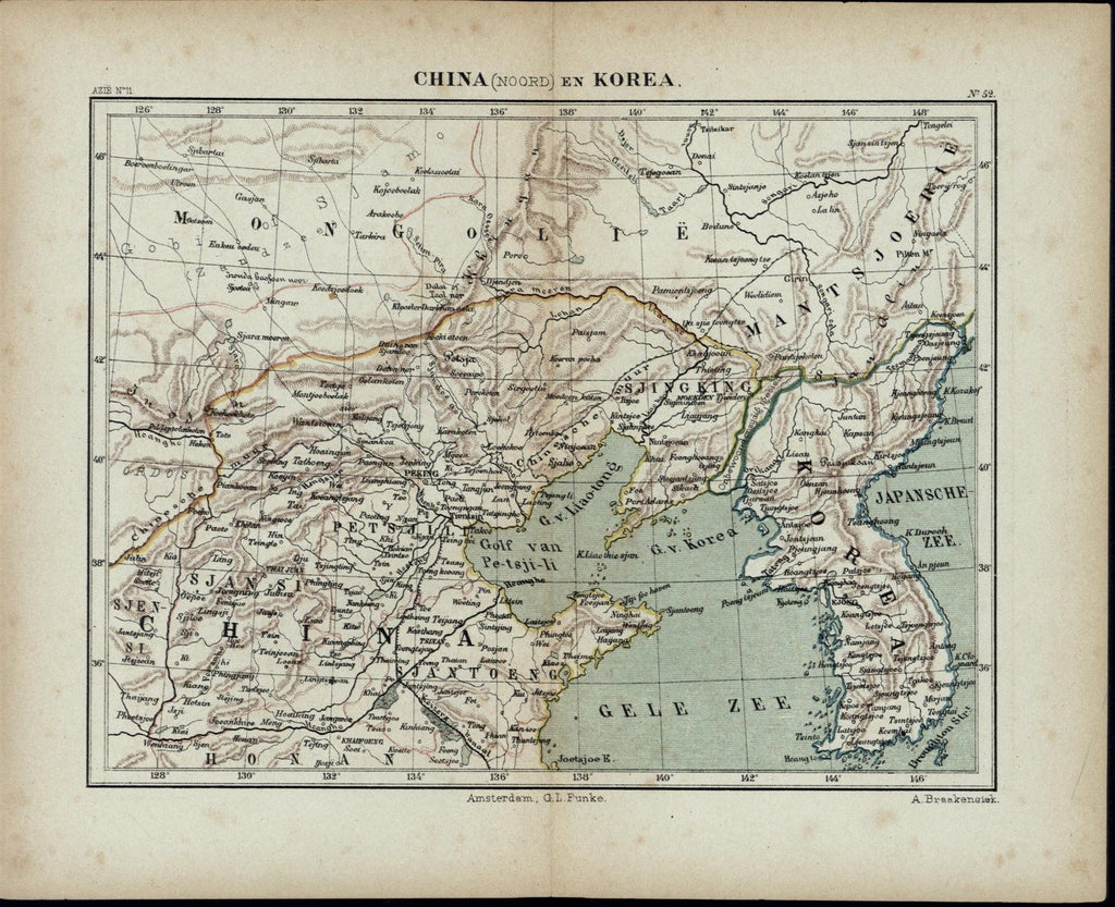 Northern China Korea Asia Mongolia Peking c.1870 antique Dutch Braakensiek map