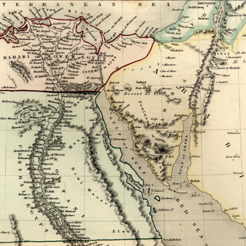 Egypt North Africa Sinai Arabia c.1840 old Dower map Orr