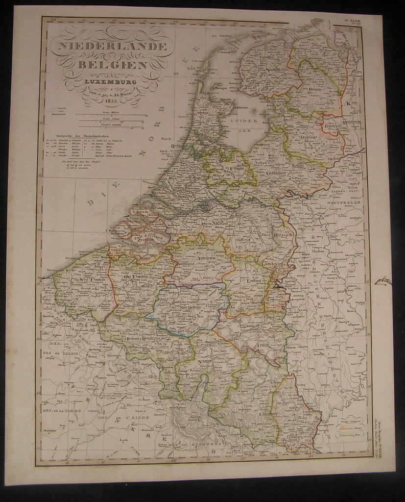 Netherlands Belgium Luxembourg 1833 antique engraved hand color map
