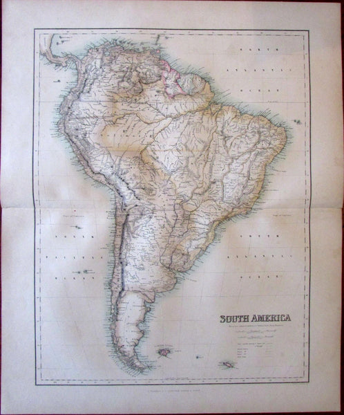 South America Fullarton c. 1855 large folio sheet map color lithographed
