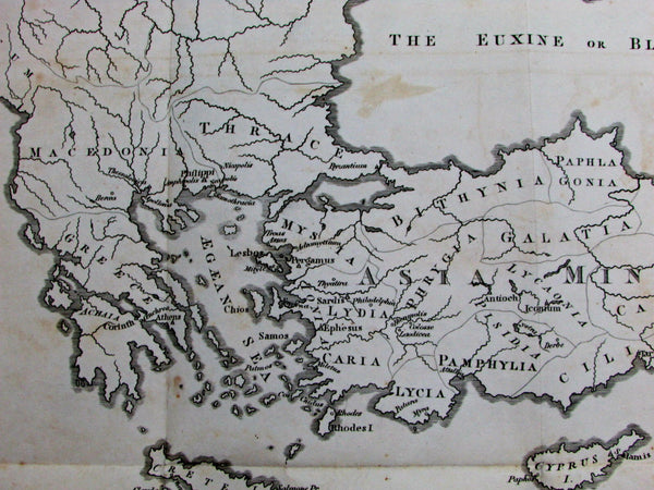 Acts of Apostles St. Paul travels Holy Land Africa Turkey 1813 scarce Lewis map