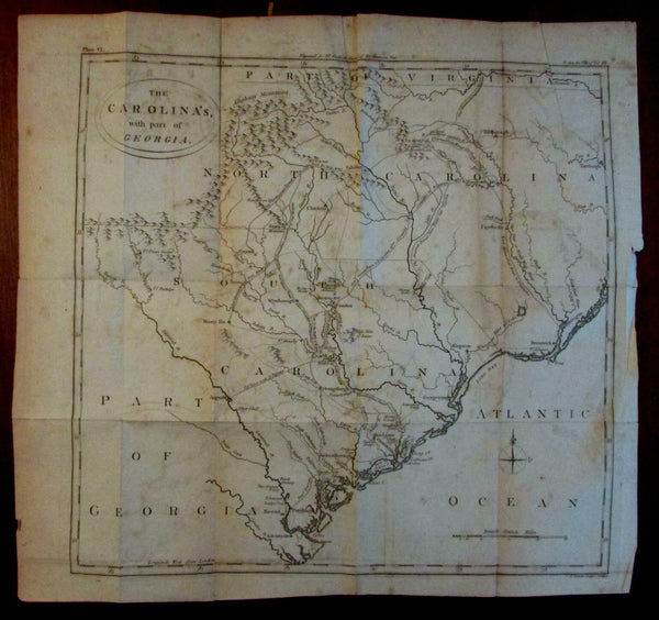 North & South Carolinas Revolutionary War 1788 Conder scarce large engraved map