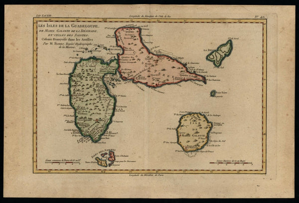 Guadaloupe Marie Galante Caribbean 1780 Bonne map lovely hand color