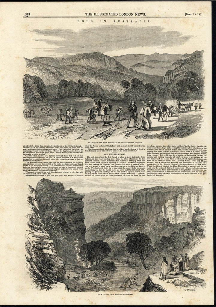 Gold District Australia Miners Return Blue Mountains 1851 antique engraved print
