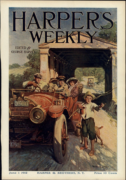 early Automobile boy fishing rod covered bridge 1912 old Harper's color print