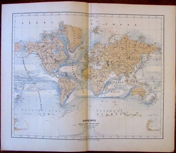 World Ocean Currents oceanography scientific 1874 Flemming detailed old map