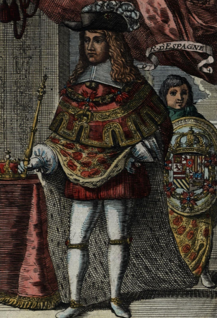 King of Spain Roy d'Espagne 1683 Mallet ethnic costume dress hand color print