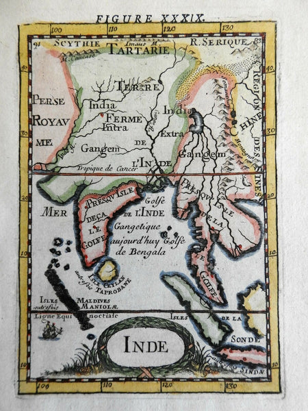 India Mughal Empire Ganges & Indus Rivers Ceylon Sri Lanka 1683 Mallet map