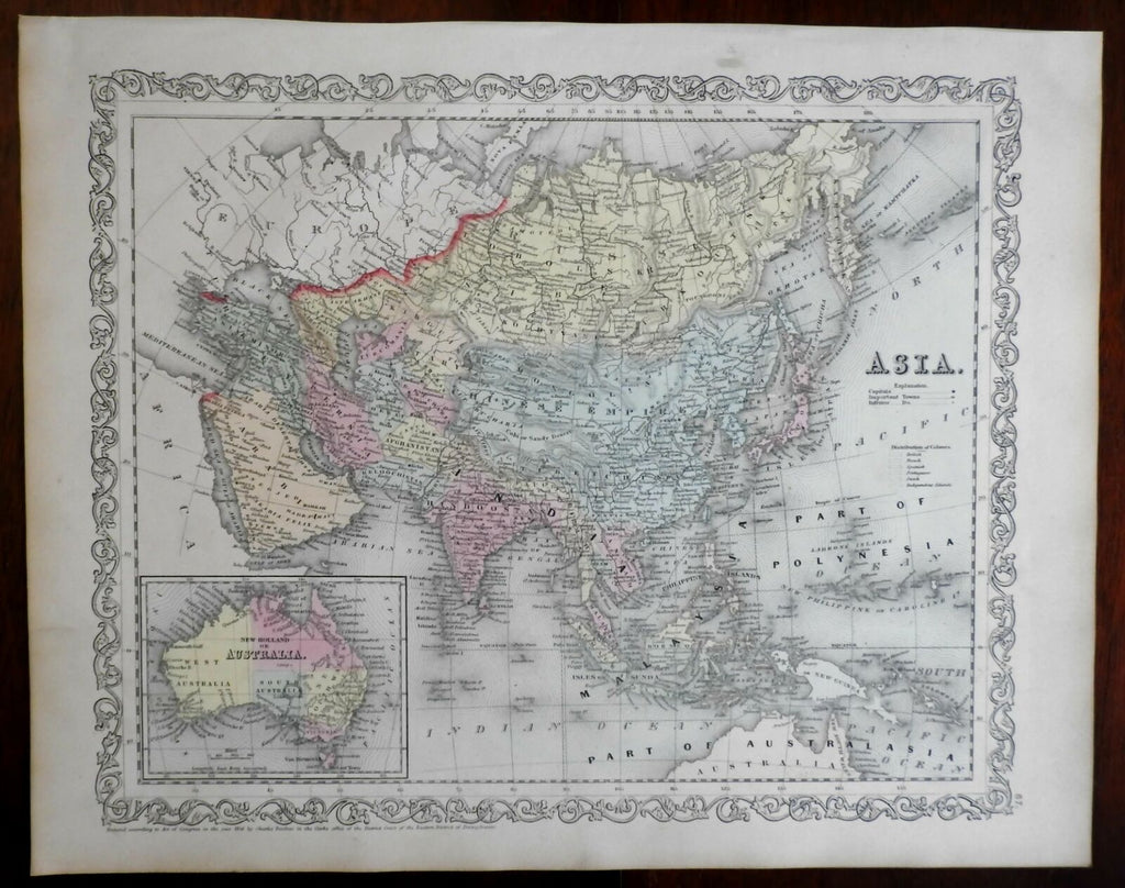 Asian Continent Arabia to Japan Australia inset hooked Torrens 1857 DeSilver map