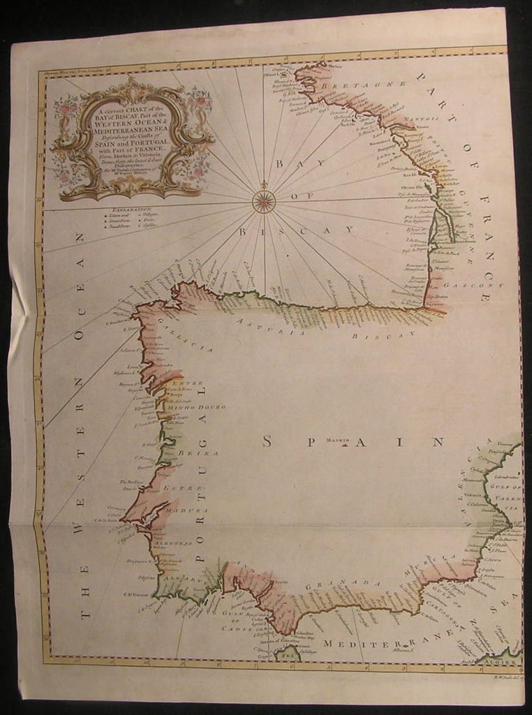 Coasts of Spain & Portugal 1751 Seale large antique decorative hand color map