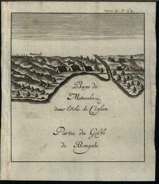 Bay of Metecalo Batticaloa Ceylon Sri Lanka 1725 antique engraved harbor view