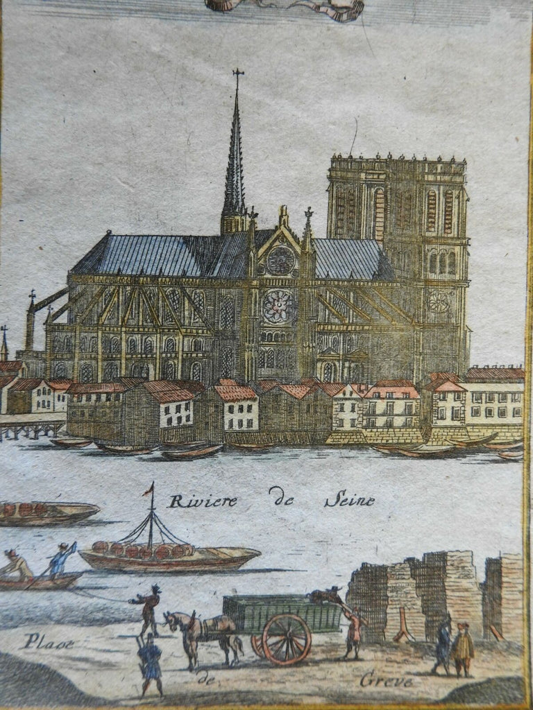 Notre Dame Cathedral Paris Seine River Kingdom of France 1719 Mallet view