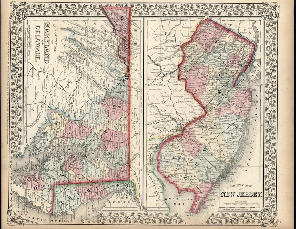 Maryland Delaware New Jersey 1867 Mitchell antique lithograph hand color map
