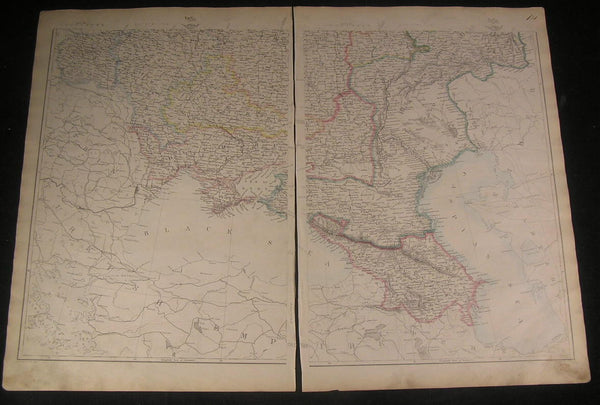 Southern Russia Caucasus c.1863 old vintage detailed large 2 sheet map