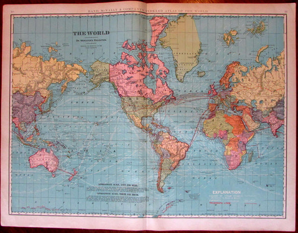World emphasizing telegraph lines & ocean currents 1902 huge Rand McNally map