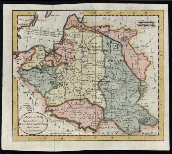 Poland Russia Prussia Austria Claims c.1790 Kitchin (?) hand color map