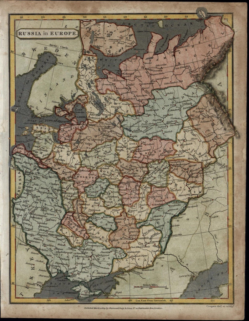 Russia in Europe Caucasus Vladimir Black Sea 1809 antique engraved Cooper map