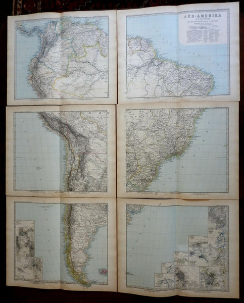 South America huge 6 map set wall size 1891 Stieler very highly detailed maps