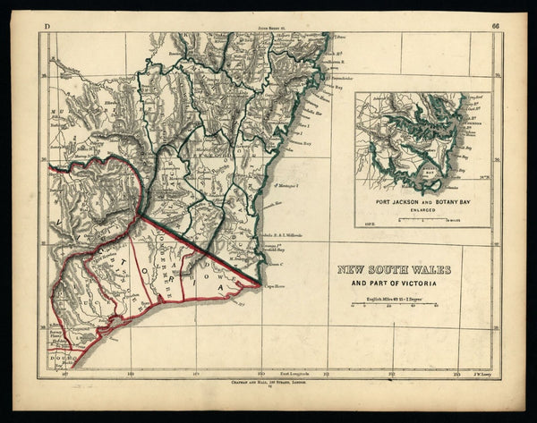 Australia New South Wales Sydney Port Jackson inset 1852 Lowry old map 3 sheets