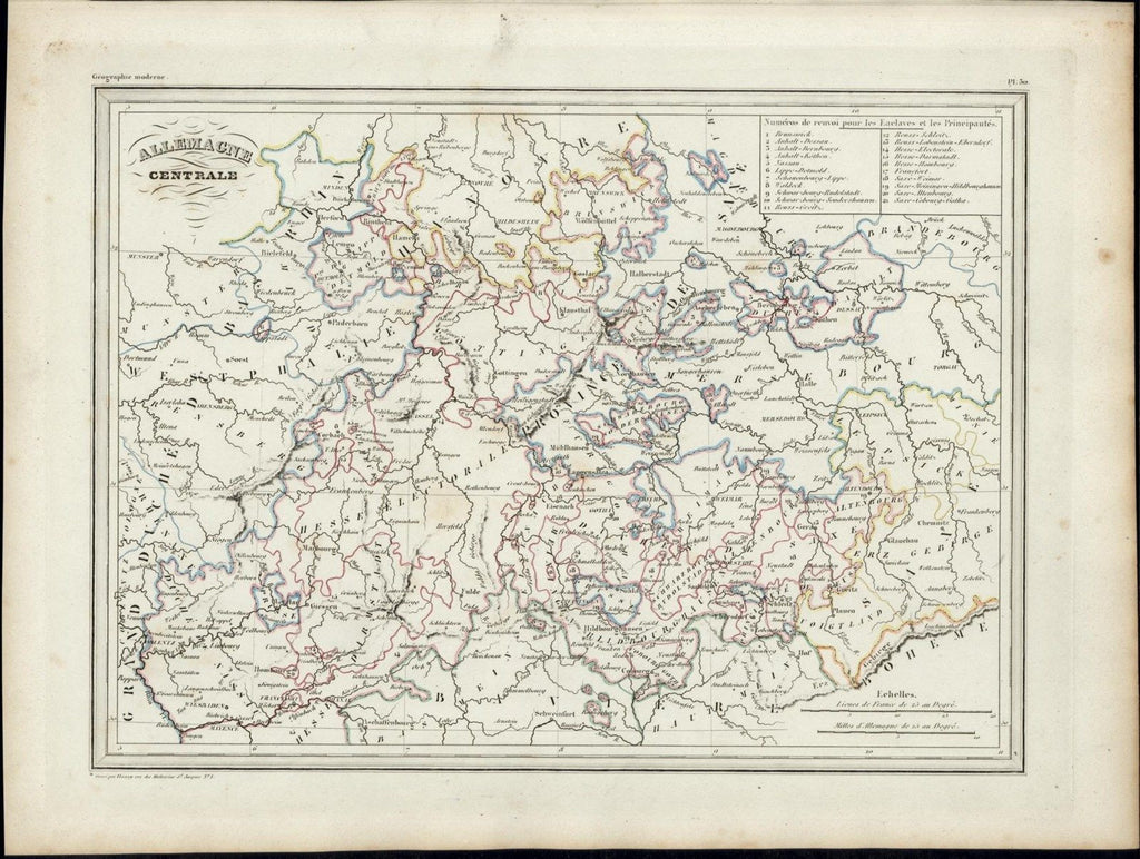 Central Germany Bavaria Westphalia Hanover 1846 uncommon antique color map