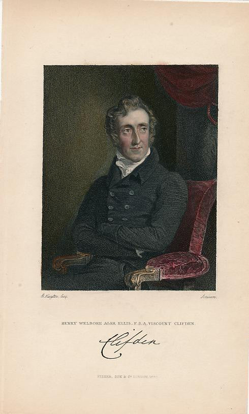 Henry Ellis Viscount Clifden 1830 nice old hand colored portrait print