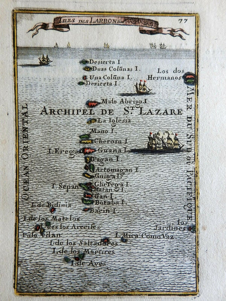 Mariana Islands Pacific Ocean Sailing Ships 1683 Mallet decorative charming map