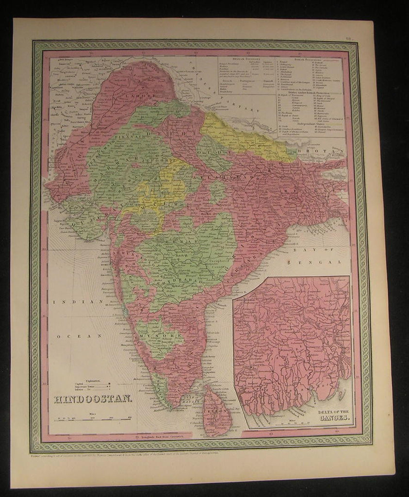 India Ceylon Bay of Bengal Nepal Lahore 1850 antique fine Cowperthwait map