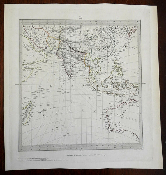 Southeast Asia British Raj India China Tibet Indian Ocean c.1840 SDUK Walker map