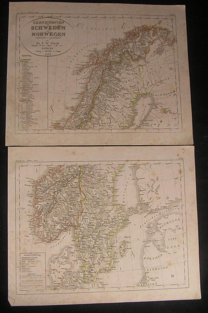 Norway Sweden Scandinavia Baltic 1836 antique engraved hand color outline map