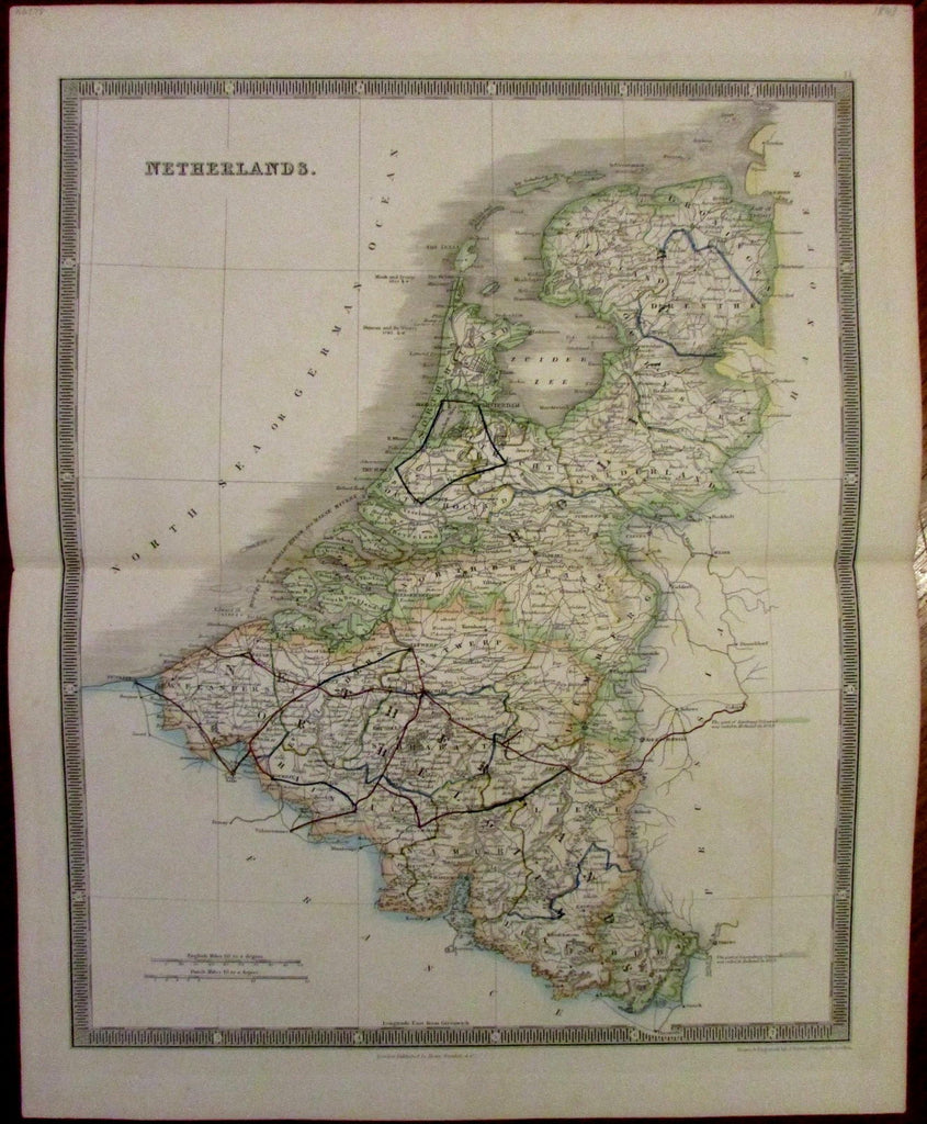 Netherlands rail lines c.1843 Teesdale engraved original hand color old map