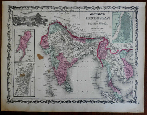 India British Raj Bombay Madras Calcutta 1862 Johnson & Ward map Scarce Issue