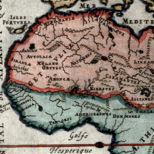 Africa continent Kingdoms 1719 Mallet small miniature old map hand color Libya