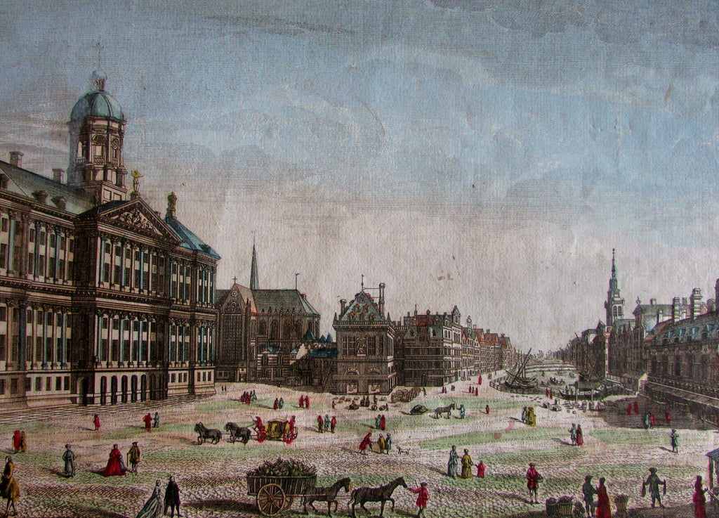Amsterdam Holland Dam Square Paleis Waag c.1760 city view vue d'optique print