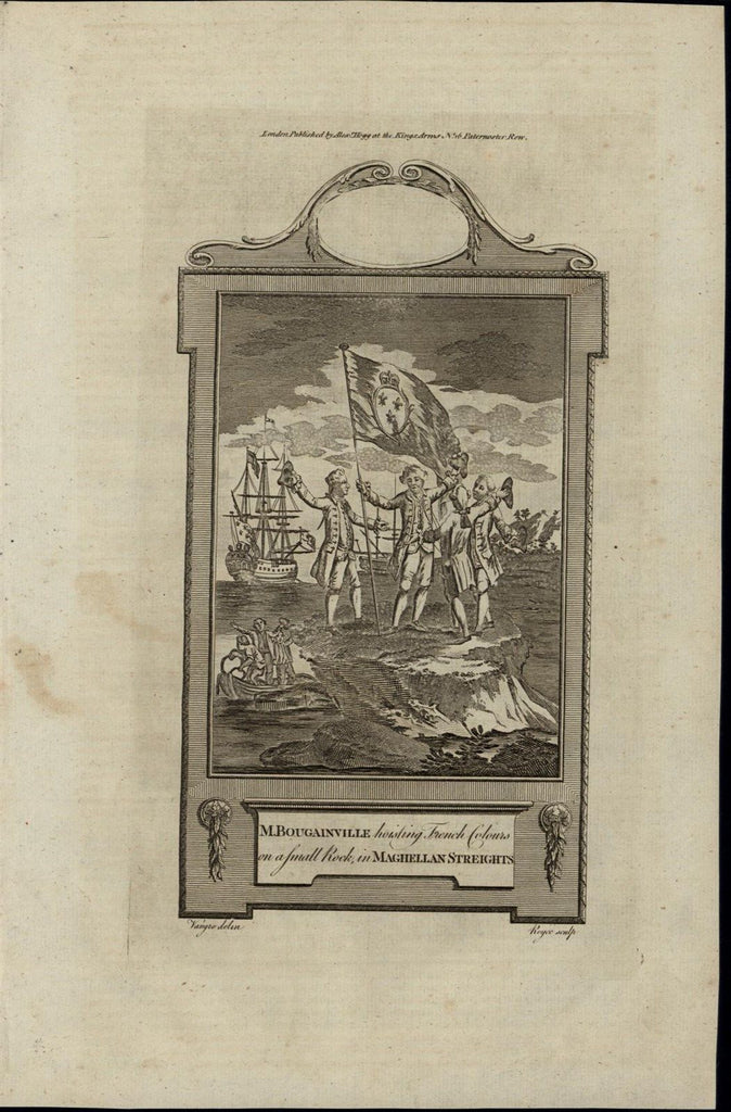 French Flag Planted Magellan Strait ca. 1780's fascinating old engraved print