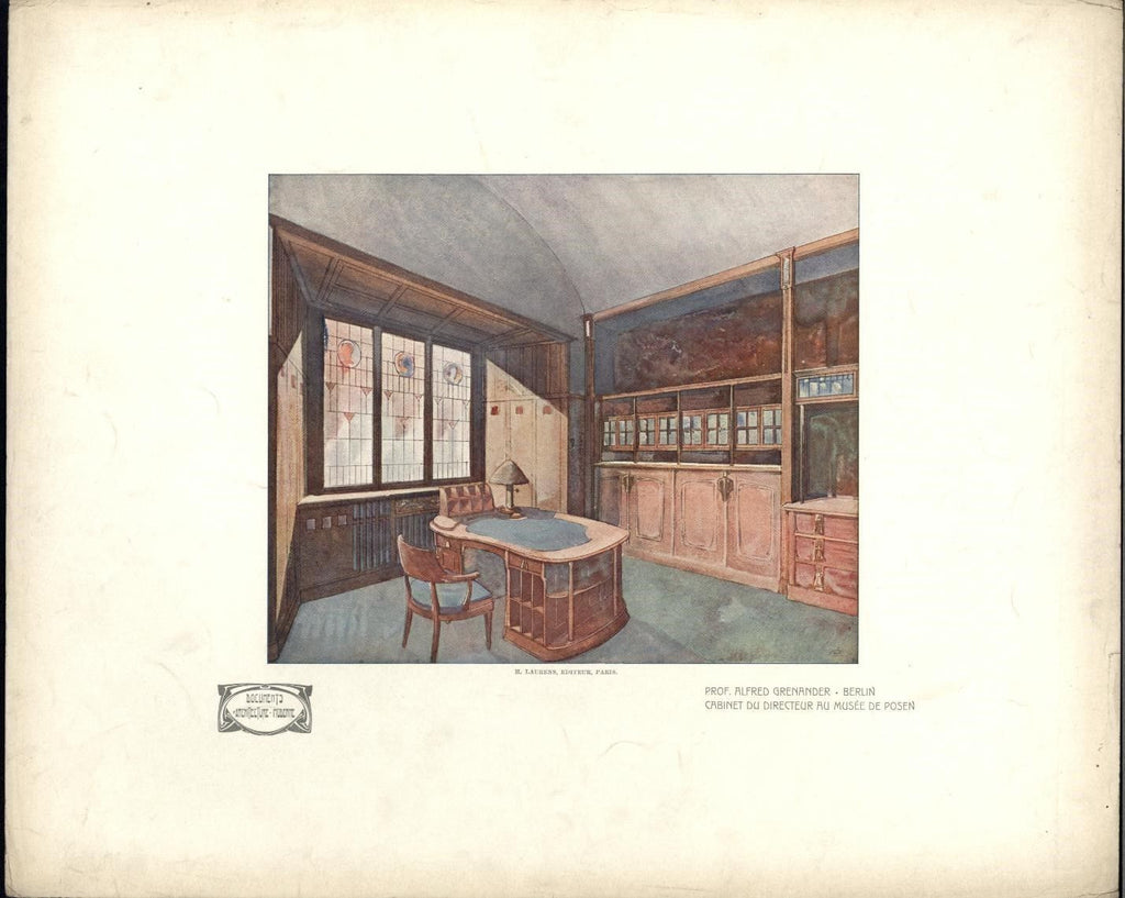 Art Nouveau Grenander Berlin Posen 1907 lovely rare Architecture color print