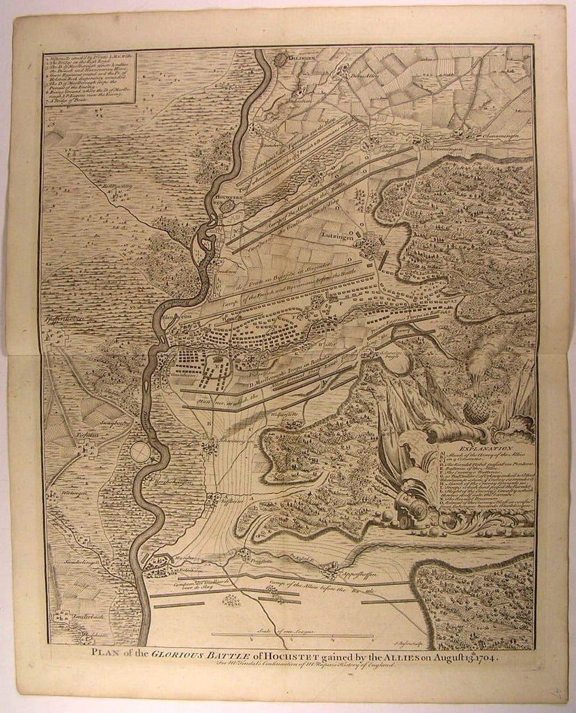 Belgium Hochstet Battle City Gained by Allied Troops 1745 antique Basire map
