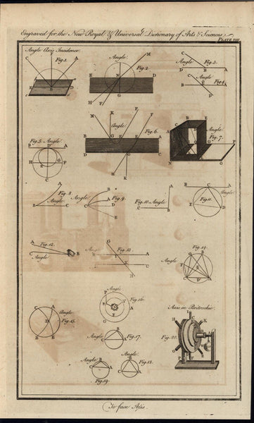 Triangles in Circles Geometrical Axioms1771 antique engraved print