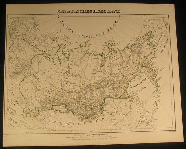 Russia in Asia Siberia Tundra c.1854 antique lithograph outline hand color map