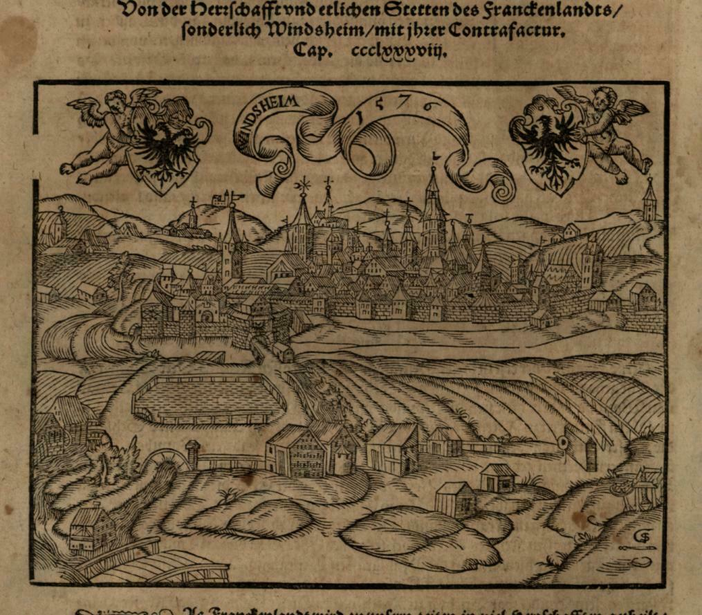 Windsheim Germany Bavaria 1598 Munster Cosmography wood cut print city view