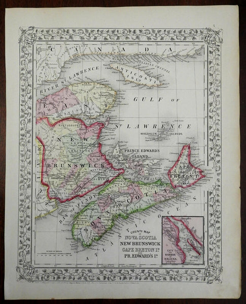 Canada Maritime Provinces New Brunswick Nova Scotia 1866 Mitchell map