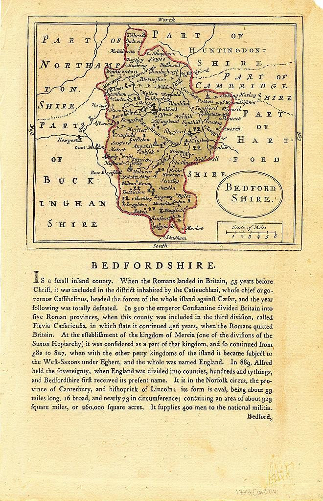 Bedfordshire England 1783 original antique English County map