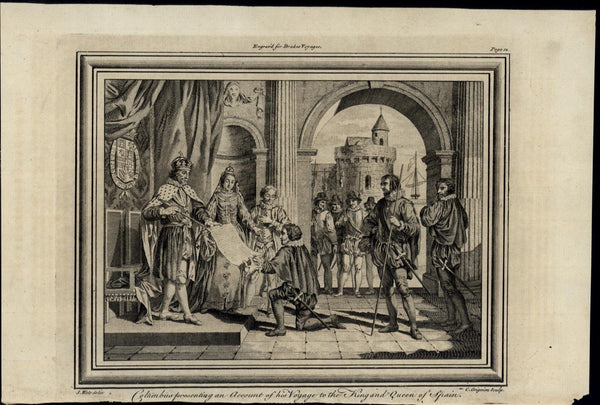 Columbus Voyage Account Royals Spain ca. 1780's fascinating old engraved print
