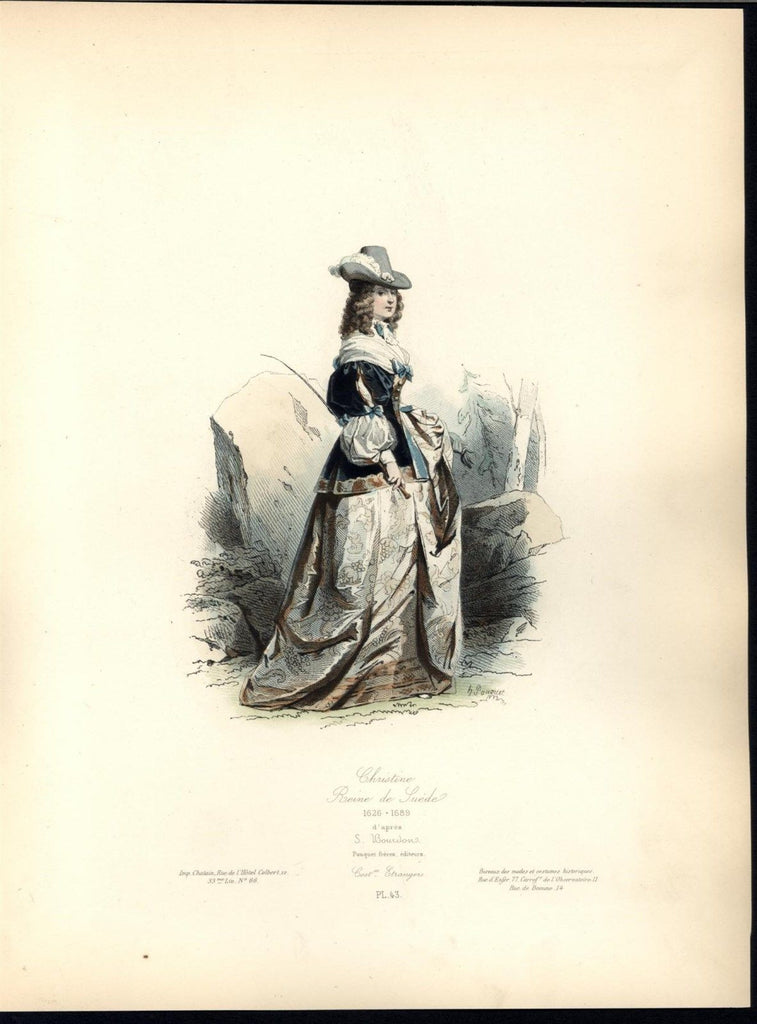 Christina Queen Sweden Luxurious Dress c.1870 antique hand color costume print